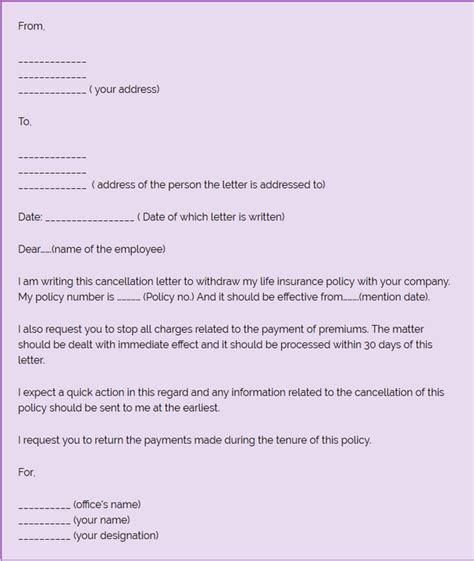insurance cancellation letter how to write a letter to cancel an insurance policy quora 12704