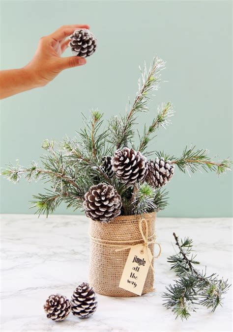 snowy tree winter christmas diy table decoration