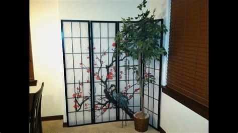 cherry blossom asian themed room dividerscreen  panels