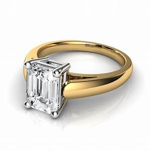 emerald cut diamond solitaire engagement ring in 14k With wedding ring emerald cut