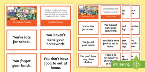 * New * Catastrophe Scale Problem Cards  Resilience, Problem