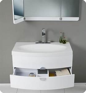 36 Energia FVN5092PW White Modern Bathroom Vanity W