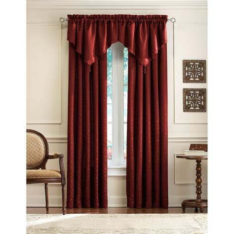 decor maroon jc penney curtains with white paint wall and