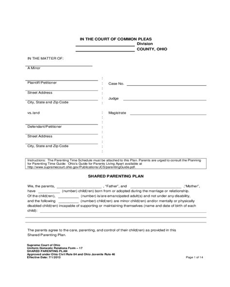 joint custody agreement form fillable printable