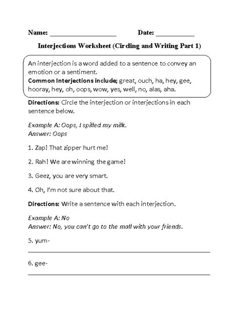 Englishlinxcom  Interjections Worksheets