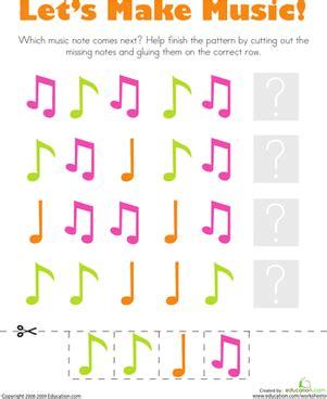 patterns music notes worksheet education