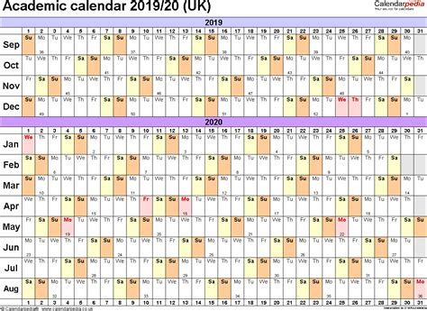 Academic Calendars 2019/2020 As Free Printable Pdf Templates