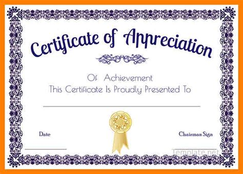 certificate  appreciation template word  planner