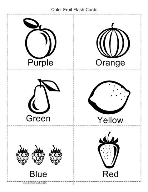 color fruit flashcards coloring worksheets