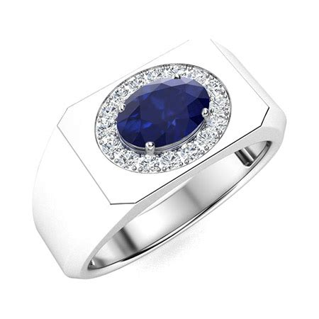 Aryan Men's Ring with Oval Sapphire, SI Diamond | 1.15 ...