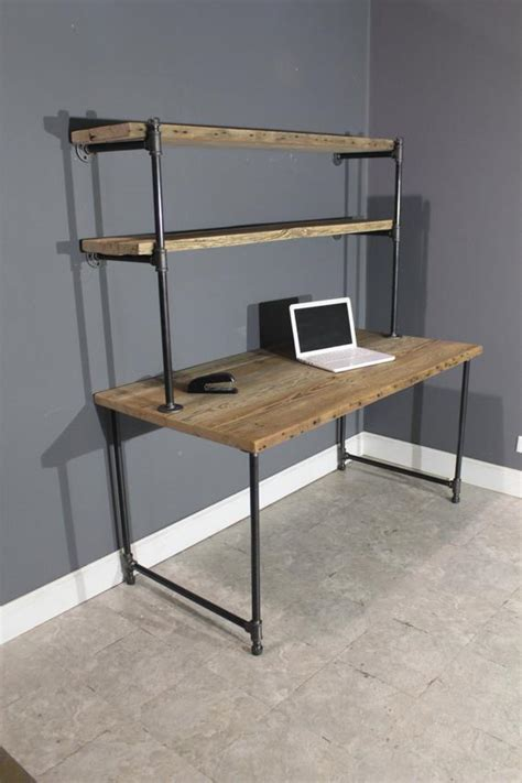 pipe computer desk reclaimed computer desk w 2 shelves by