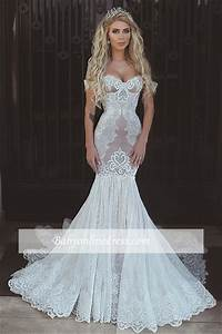 Sexy Mermaid Lace Wedding Dresses 2017 Cap Sleeves ...