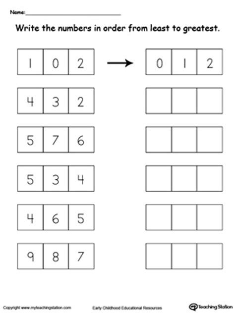 worksheet comparing numbers