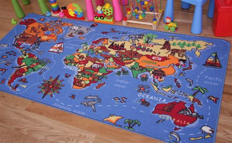 Kids Play Mat Educational Fun World Map Country Rugs Non