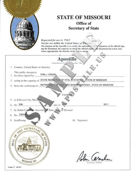 authentications  documents state missouri