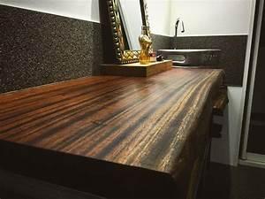 Plan Vasque Bois : plan vasque en bois massif pour salle de bain table ~ Premium-room.com Idées de Décoration
