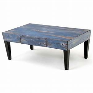 Urban rustic blue coffee table rustic log reclaimed for Rustic blue coffee table