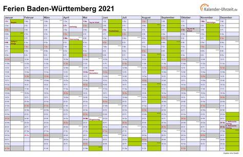 Die kalenderwochen 2021 entsprechen der in europa üblichen berechnungsweise für kalenderwochen (iso 8601). Ferien Baden-Württemberg 2021 - Ferienkalender zum Ausdrucken