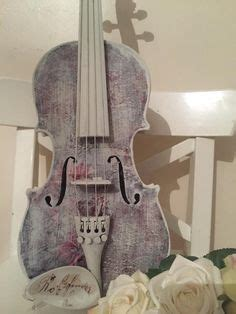 painted violin with ashlet tartan decoupage and roses and script x shabby chic vintage
