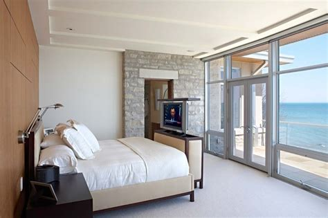 40836 modern bedroom with tv lake michigan house