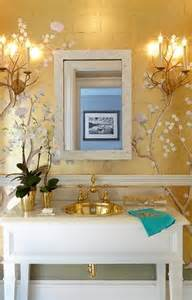 vintage bathroom storage ideas chinoiserie powder room with gold metallic wallpaper and