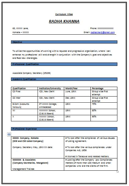Cv Format For Experienced by Resume Format For Experienced Company 1