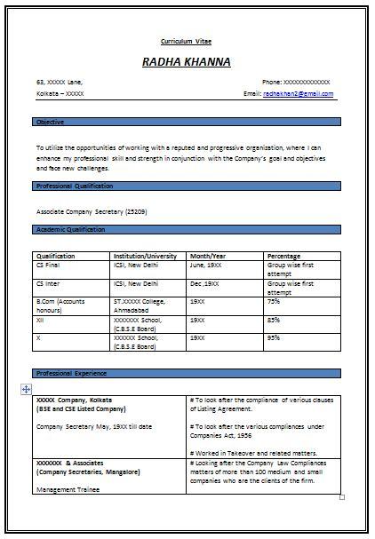 resume format  experienced company secretary