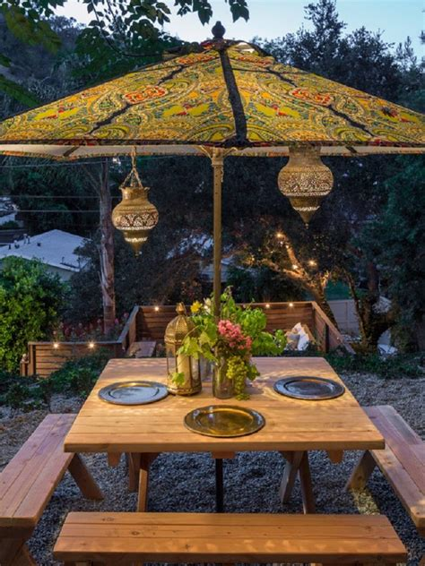 custom bohemian style outdoor patio umbrella supported