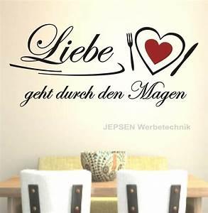 Sprüche Für Die Küche : liebe geht durch den magen wandtattoo 90x40cm z149 ~ Watch28wear.com Haus und Dekorationen