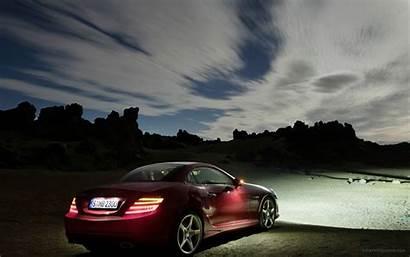 Mercedes Slk Benz Roadster Night Wallpapers Side