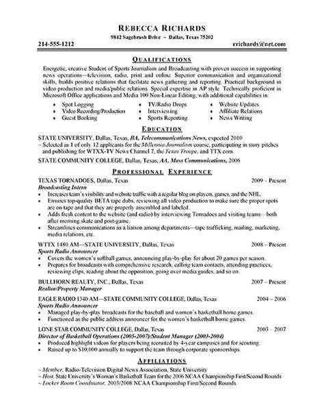 intern resume exle