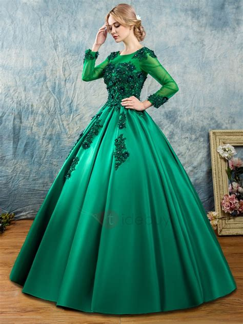 scoop appliques beaded long sleeves quinceanera dress