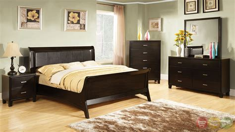 Darien Contemporary Espresso Sleigh Bedroom Set With
