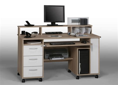 ordinateur de bureau blanc bureau meuble informatique but table de lit