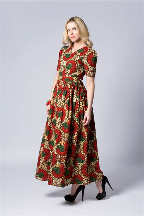 red dress long wax print dress batik dress sleeved dress