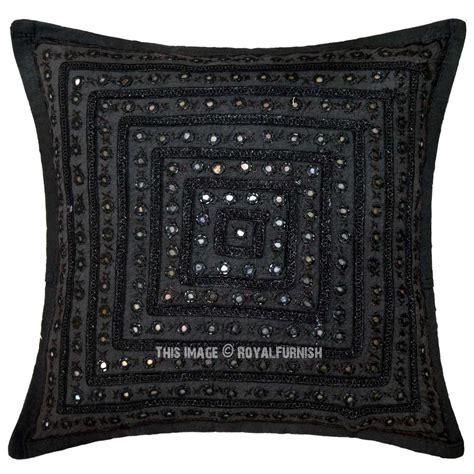 unique throw pillows black decorative unique mirrored embroidered throw pillow