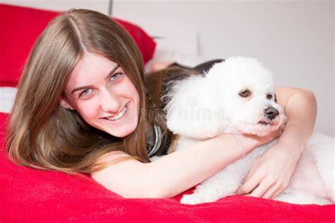girl  poodle dog stock image image  critter