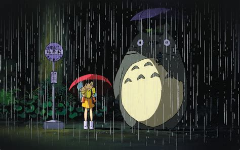 ao  neighbor totoro art illust rain anime papersco
