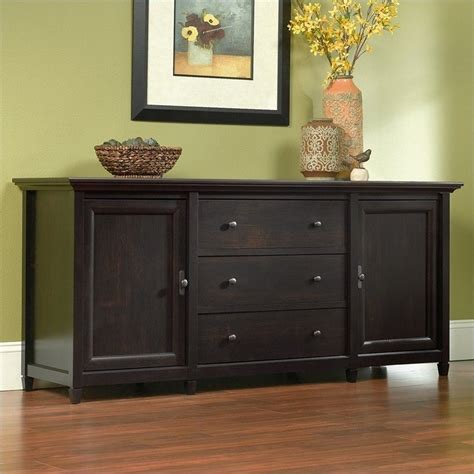 tv credenza black sauder edge water 71 quot tv credenza in estate black