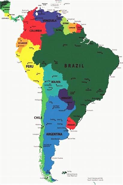 South Map America Countries Capitals Continent Continents