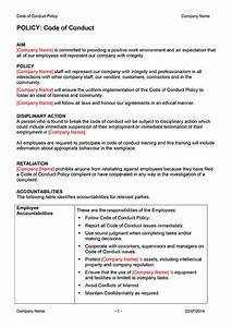 staff confidentiality code of conduct template software With code of conduct sample template