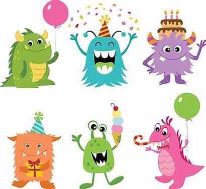 Monsters Birthday Vector Illustration Monster Clip Illustrations