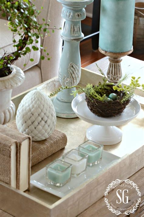 You probably already have all the ribbon and lace bits you need in. SPRING COFFEE TABLE VIGNETTE - StoneGable