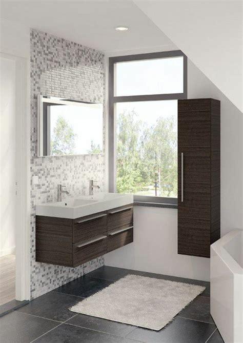 papier peint salle de bain harmonie avec carrelage gris