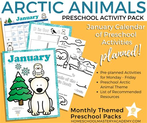 arctic animal themed preschool activities calendar