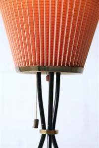 1950s french tripod floor lamp with pleated shade cream for Tripod floor lamp with white pleated shade