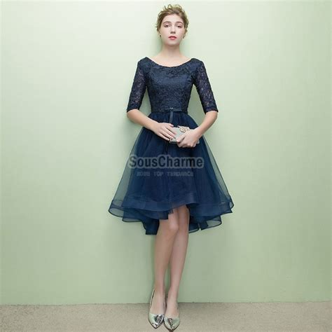 robe pour mariage bleu marine dentelle robe de cocktail bleu marine courte en tulle et dentelle