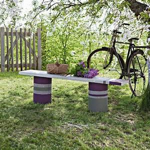 un banc en ciment et beton marie claire With banc de jardin en ciment