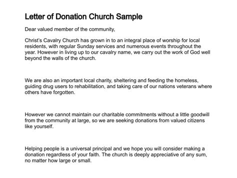 sample letter requesting donations  church sample