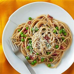 Spaghetti Carbonara with Peas Recipe - EatingWell